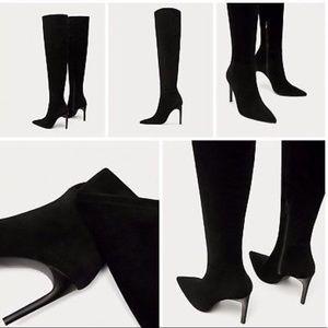 Zara split suede thigh high boots